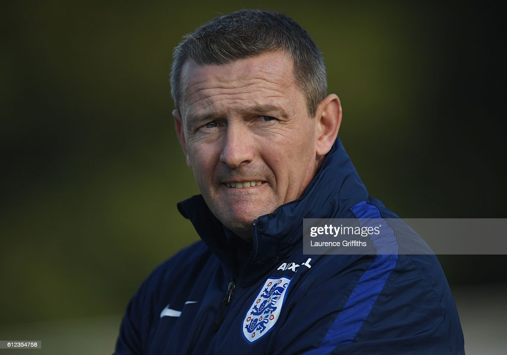 Aidy Boothroyd of England U-21 looks on during a training session at St Georges Park on October 4, 2016 in Burton-upon-Trent, England.
