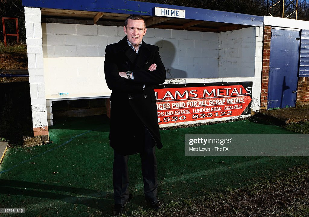 Aidy Boothroyd the regional Club Futures ambassador for the East Midlands pictured during the Bud Club Futures event at Bardon Hill FC on December 5, 2012 in Coalville, England. Football life is set to change for Bardon Hill as Newcastle United boss Alan Pardew, Budweiser and The FA have today announced the winners of the £50,000 grants as part of the Budweiser Club Futures programme.