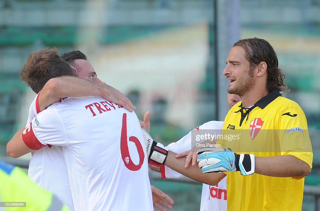 Aiello Cutolo of Padova (R) celebrates after scoring his third team goal with his team mate Trevor Trevisan during the Serie B match between Calcio Padova and Reggina Calcio at Stadio Euganeo on September 22, 2012 in Padova, Italy.