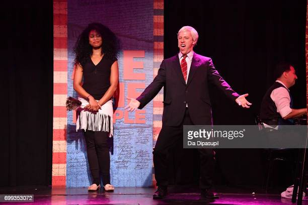 Aiesha Alia Dukes and Mitchel Kawash perform onstage during the 'ME THE PEOPLE The Trump America Musical' Press Preview Presentation at The Triad...