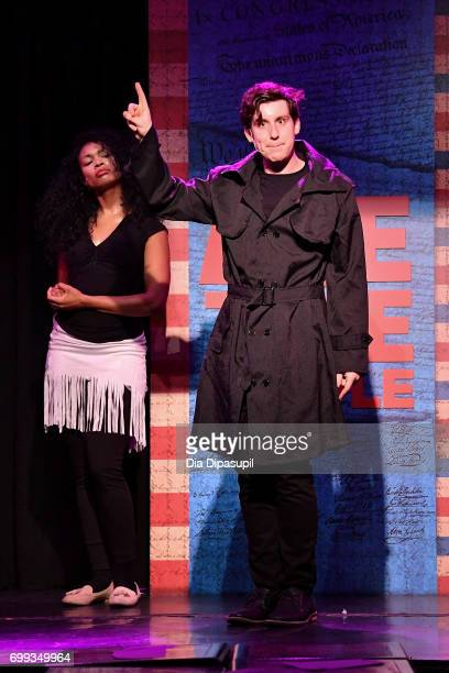 Aiesha Alia Dukes and Richard Spitaletta perform onstage during the 'ME THE PEOPLE The Trump America Musical' Press Preview Presentation at The Triad...