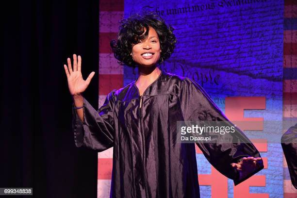 Aiesha Alia Dukes performs onstage during the 'ME THE PEOPLE The Trump America Musical' Press Preview Presentation at The Triad Theater on June 21...