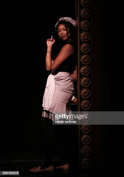 Aiesha Dukes as Mike Pence performs onstage during the 'ME THE PEOPLE The Trump America Musical' Press Preview Presentation at The Triad Theater on...