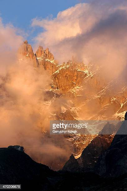 Aiguilles Blatiere and Ciseaux with alpenglow