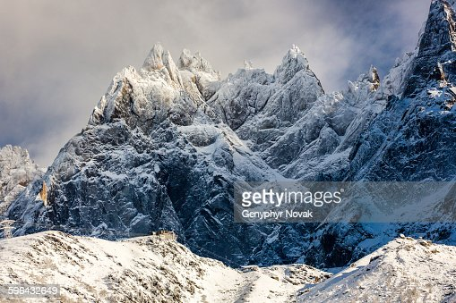 Aiguilles de Chamonix with fresh snow