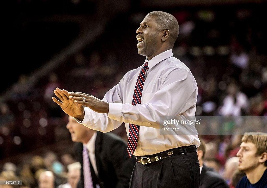 USC Aiken head coach Vince Alexander directs his team against the South Carolina during an exhibition game at Colonial Life Arena in Columbia, South Carolina, Sunday, Novembe 3, 2013.