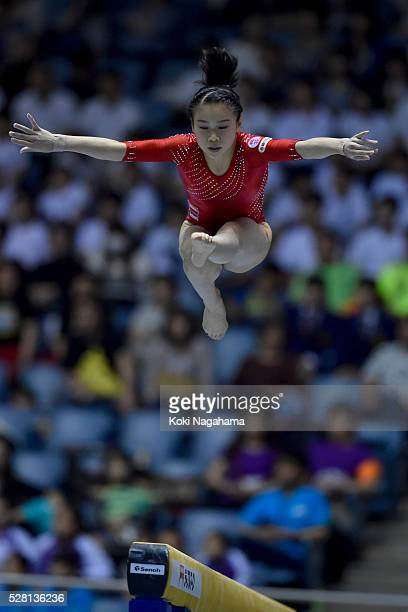 Aiko Sugihara competes in the Balance Beam during the Artistic Gymnastics NHK Trophy at Yoyogi National Gymnasium on May 4 2016 in Tokyo Japan