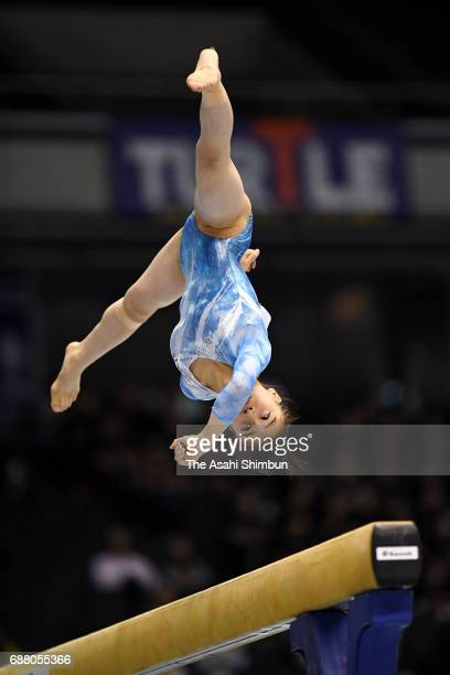 Aiko Sugihara competes in the Balance Beam of the Women's AllAround during day two of the Artistic Gymnastics NHK Trophy at the Tokyo Metropolitan...