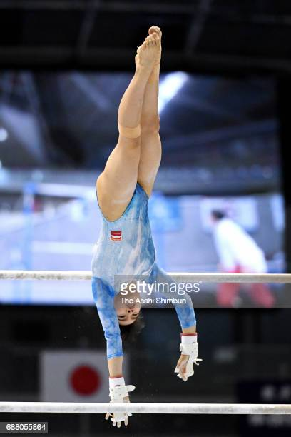 Aiko Sugihara competes in the Uneven Bars of the Women's AllAround during day two of the Artistic Gymnastics NHK Trophy at the Tokyo Metropolitan...