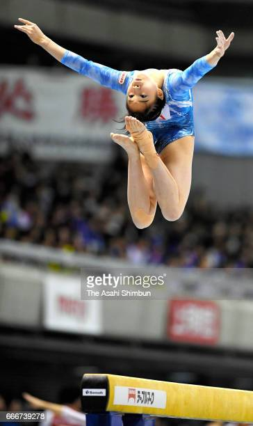 Aiko Sugihara competes in the Women's balance beam during day three of the All Japan Artistic Gymnastics Championships at Tokyo Metropolitan...