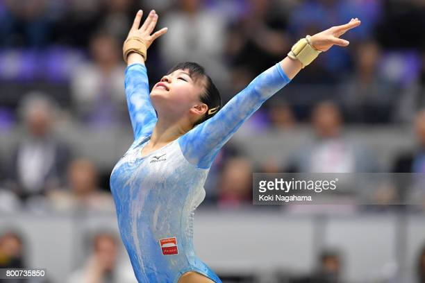 Aiko Sugihara competes on the Floor Exercise during Japan National Gymnastics Apparatus Championships at the Takasaki Arena on June 25 2017 in...