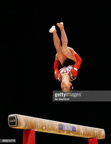 Aiko Sugihara of Japan competes on the Beam during Day One of the 2015 World Artistic Gymnastics Championships at The SSE Hydro on October 23 2015 in...
