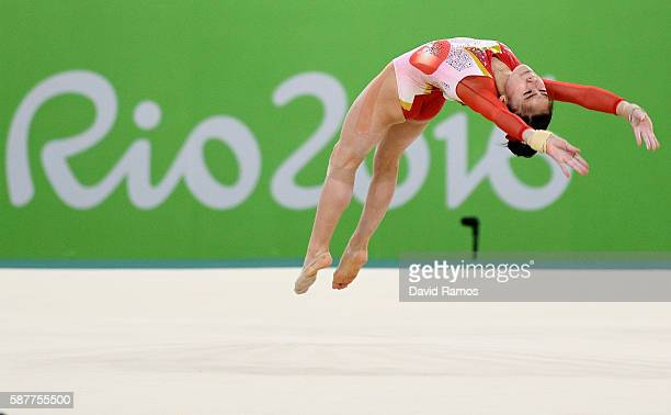 Aiko Sugihara of Japan competes on the floor during the Artistic Gymnastics Women's Team Final on Day 4 of the Rio 2016 Olympic Games at the Rio...
