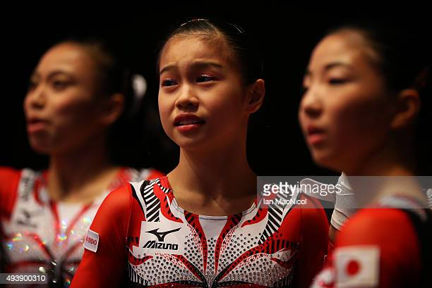 Aiko Sugihara of Japan looks on during Day One of the 2015 World Artistic Gymnastics Championships at The SSE Hydro on October 23 2015 in Glasgow...