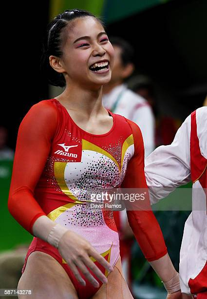 Aiko Sugihara of Japan reacts after competing on the balance beamduring Women's qualification for Artistic Gymnastics on Day 2 of the Rio 2016...