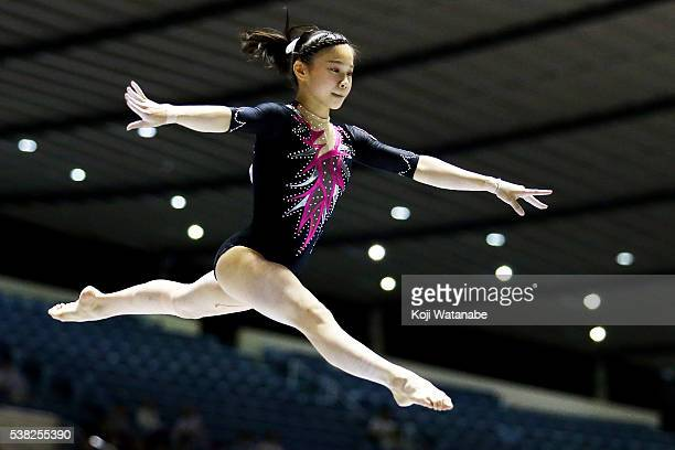 Aiko Sugihara on the beam during the AllJapan Gymnastic Appratus Championships at Yoyogi National Gymnasium on June 5 2016 in Tokyo Japan