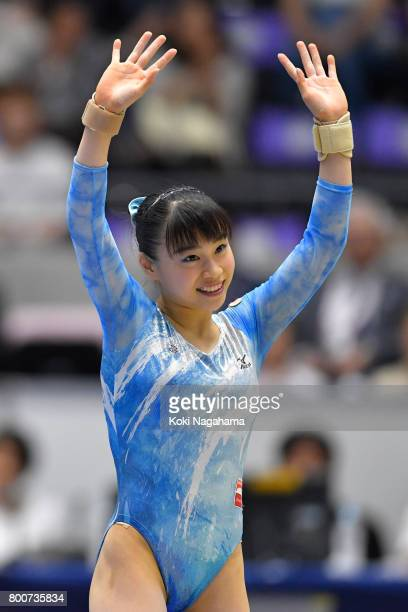 Aiko Sugihara waves for funs after competing on the Floor Exercise during Japan National Gymnastics Apparatus Championships at the Takasaki Arena on...