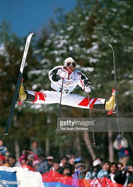 Aiko Uemura of Japan competes in the Ladies' Mogul Final of the Nagano Winter Olympics at Iizuna Kogen Ski Resort on February 11 1998 in Nagano Japan