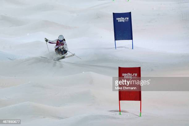 Aiko Uemura of Japan competes in the Ladies' Moguls Final 1 during day one of the Sochi 2014 Winter Olympics at Rosa Khutor Extreme Park on February...