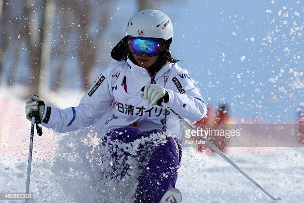 Aiko Uemura of Japan competes in the Women's Finals of the All Japan Freestyle Ski Championships at the Hakuba 47 Winter Sports Park on March 27 2014...