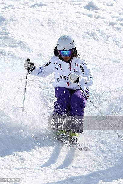 Aiko Uemura of Japan competes in the Women's Semi Finals of the All Japan Freestyle Ski Championships at the Hakuba 47 Winter Sports Park on March 27...