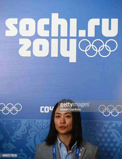 Aiko Uemura of Japan is seen upon arrival at Sochi International Airport on February 1 2014 in Sochi Russia