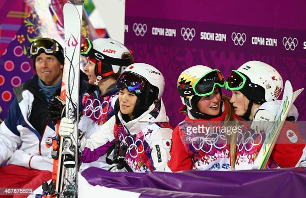 Aiko Uemura of Japan looks on during Ladies' Moguls Final during day 1 of the Sochi 2014 Winter Olympics at Rosa Khutor Extreme Park on February 8...