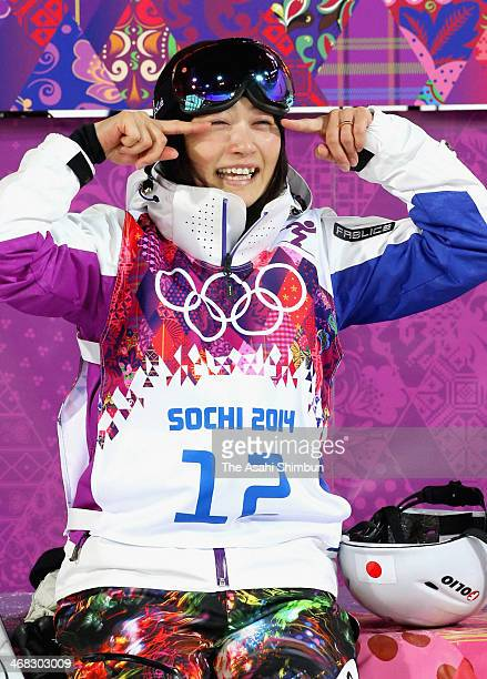 Aiko Uemura of Japan shows tears but smiles after placing 4th in the Ladies' Moguls Final on day one of the Sochi 2014 Winter Olympics at Rosa Khutor...
