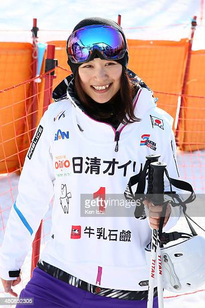 Aiko Uemura of Japan smiles after her competition during the Women's Finals of the All Japan Freestyle Ski Championships at the Hakuba 47 Winter...