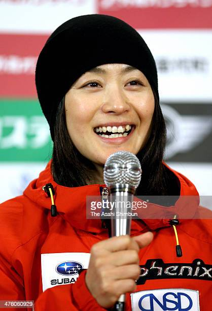 Aiko Uemura of Japan speaks during a press conference ahead of the 2014 FIS Freestyle Ski World Cup Inawashiro at Listel Inawashiro on February 28...