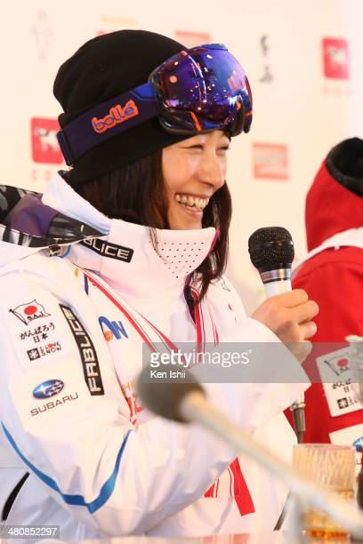Aiko Uemura of Japan talks to the media after winning competition during the Women's Finals of the All Japan Freestyle Ski Championships at the...