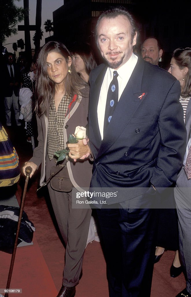 Aileen Getty and actor Bud Cort attend the Screening of the HBO Original Movie 'And the Band Played On' on August 31 1993 at the Academy Theatre in...