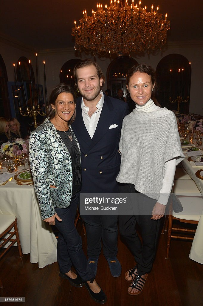 Aileen Getty Joseph Getty and Julie Mills attend the Sabine G Jewelry Dinner at Balthazar and Rosetta Getty's home on November 8 2013 in Los Angeles...
