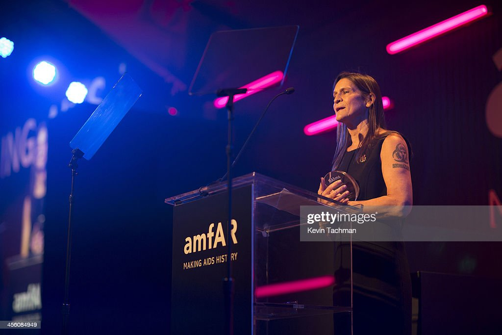 Aileen Getty speaks during the 2013 amfAR Inspiration Gala Los Angeles at Milk Studios on December 12 2013 in Los Angeles California
