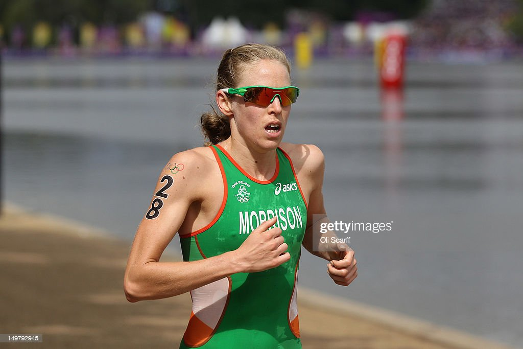 Aileen Morrison of Ireland competes in the running stage of the Women's Triathlon event at the London 2012 Olympic Games in Hyde Park which was won by Nicola Spirig of Switzerland on August 4, 2012 in London, England.