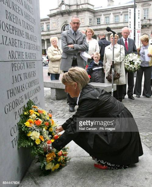 Aileen Murphy lays a wreath on behalf of campaign group Justice for the Forgotten during the the 34th annual commoration of the 1974 Dublin Monaghan...