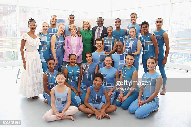 Ailey Chairman Emeritus Joan H Weill philanthropist Elaine P Wynn and artistic director of Alvin Ailey American Dance Theater Robert Battle pose...