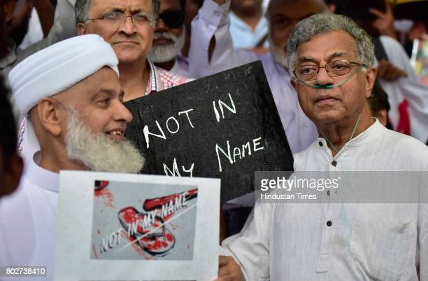 Ailing theatre personality Girish Karnad joins people to support a campaign 'Not in My Name' in protest against the lynching of Muslim boy at Town...