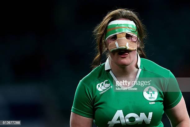 Ailis Egan of Ireland looks on during the Women's Six Nations match between England and Ireland at Twickenham Stadium on February 27 2016 in London...