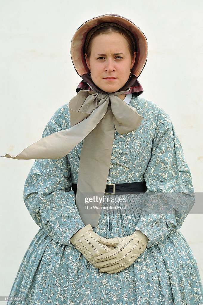Ailsa Harl, 22, of St. Cloud, MN poses for a portrait at a reenactment encampment on Thursday July 04, 2013 in Gettysburg, PA. People have flocked to the town to commemorate the 150th anniversary of the Battle of Gettysburg. The battle is considered a turning point in the Civil War.