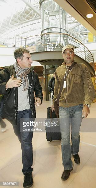 Ailton gives an interview to the media on his arrival at the Hamburg Airport on March 1 2006 in Hamburg Germany Ailton was in Brazil after being...