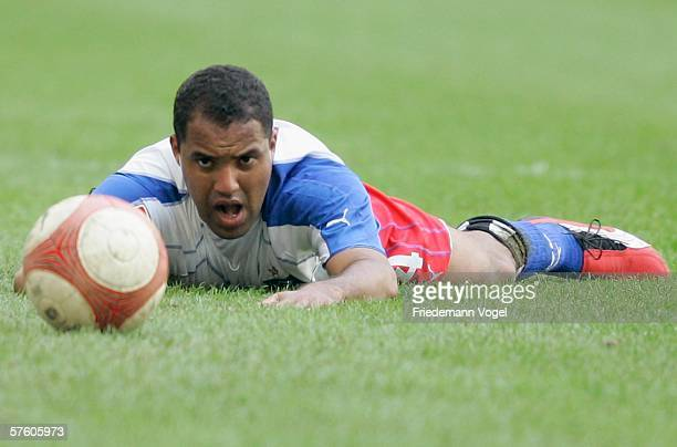 Ailton looks at the ball during the Bundesliga match between Hamburg SV and Werder Bremen at the AOL Arena on May 13 2006 in Hamburg Germany