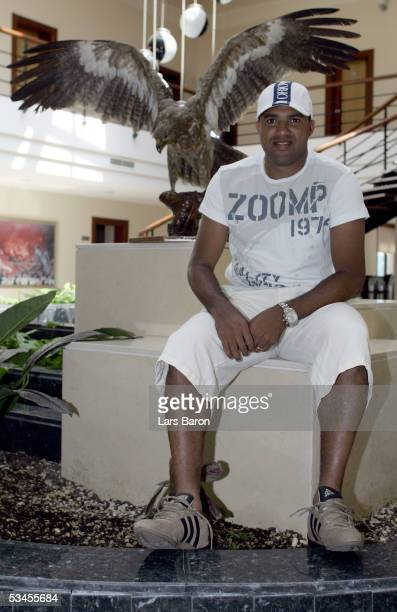 Ailton of Besiktas poses in the training center in Istanbul after the training session on August 22 2005 in Istanbul Turkey