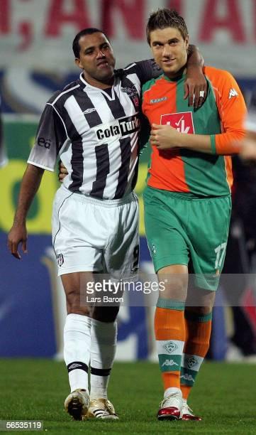 Ailton of Besiktas speaks to Ivan Klasnic of Bremen before the match between Werder Bremen and Besiktas for the Efes Pilsen Cup on January 6 2006 in...