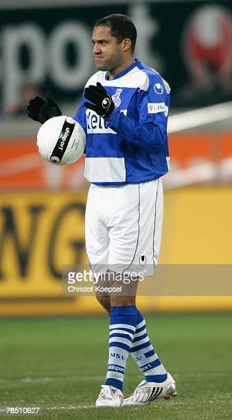Ailton of Duisburg plays with the ball before the Bundesliga match between MSV Duisburg and Eintracht Frankfurt at the MSV Arena on December 16 2007...