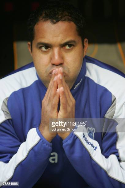 Ailton of Duisburg sits on the bench prior to the Bundesliga match between Bayern Munich and MSV Duisburg at the Allianz Arena on December 8 2007 in...