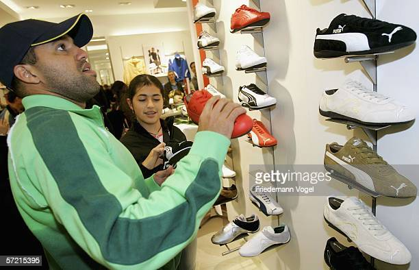 Ailton of football Bundesliga club Hamburger SV attends the PreOpening ceremony of the Puma Concept Shop on March 30 2006 in Hamburg Germany