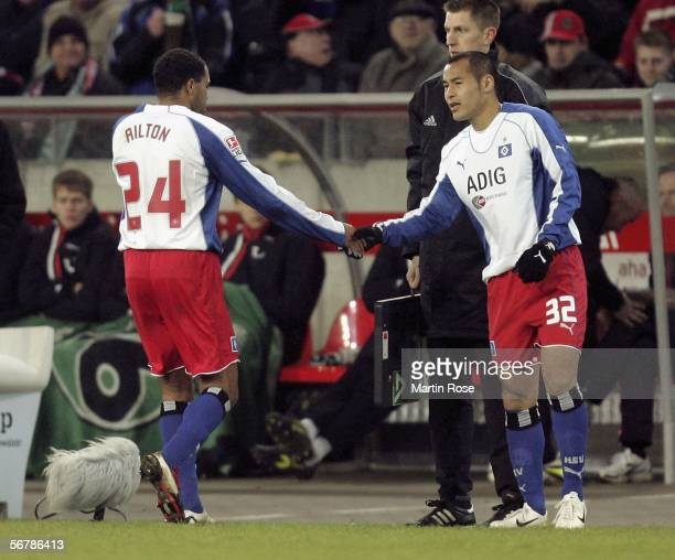Ailton of Hamburg is substituted after an injury during the Bundesliga match between Hanover 96 and Hamburger SV at the AWDArena on February 08 2006...