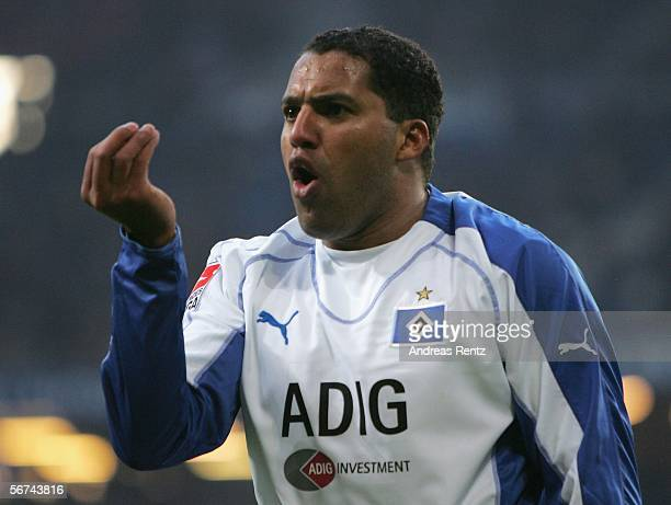 Ailton of HSV gestures during the Bundesliga match between Hamburger SV and Arminia Bielefeld at the AOL Arena on February 4 2006 in Hamburg Germany