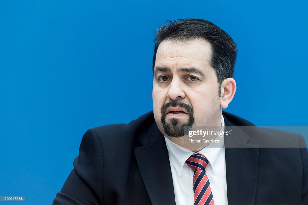 Aiman Mazyek, chairman of the Central Council of Muslims in Germany, during a press conference on February 11, 2016 in Berlin. The action picks out as a central theme the conditions of service contracts.